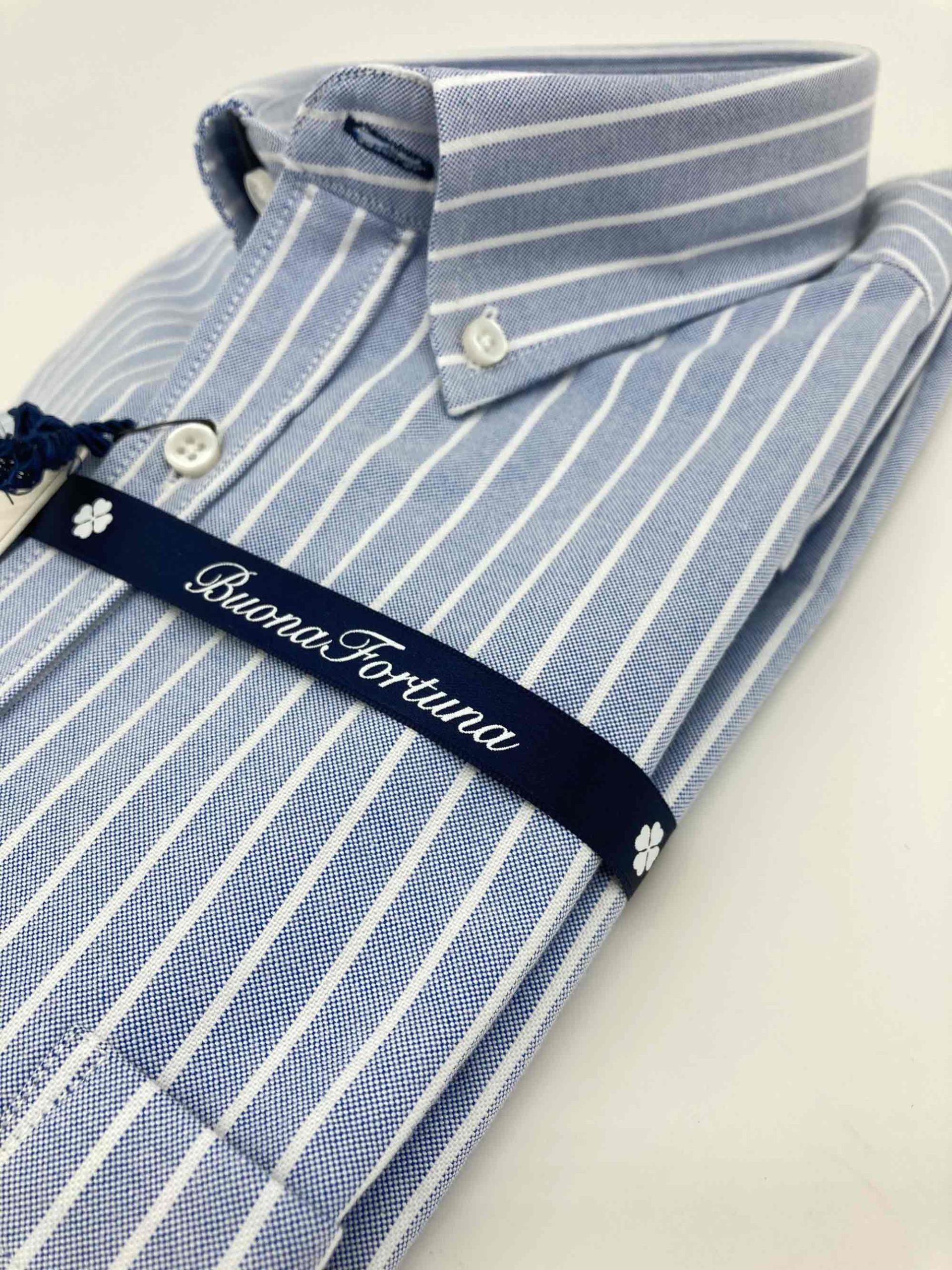 camisas buona fortuna comprar online camisas italianas exlusivas rayas oxford azul