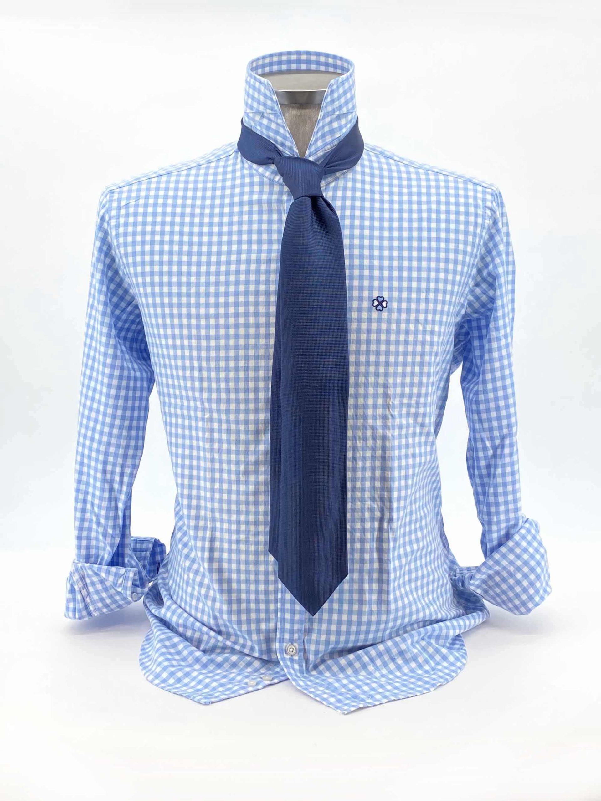 camisas buona fortuna comprar online camisas italianas exlusivas twill cuadros azules corbata azul