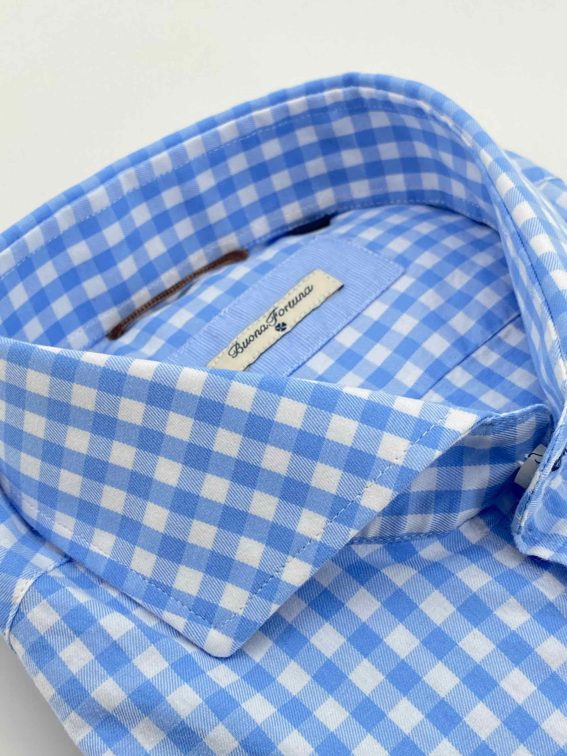 camisas buona fortuna comprar online camisas italianas exlusivas twill cuadros azules detalle