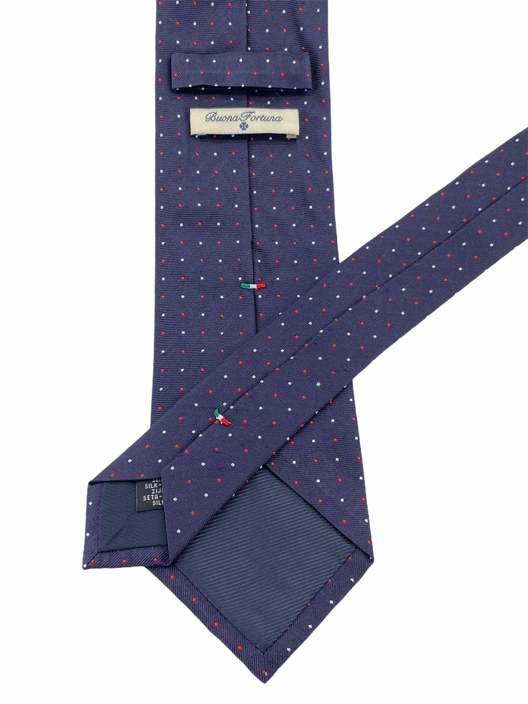 corbata tejida jacquard buona fortuna comprar online corbatas italianas exclusivas shop topos azul marino