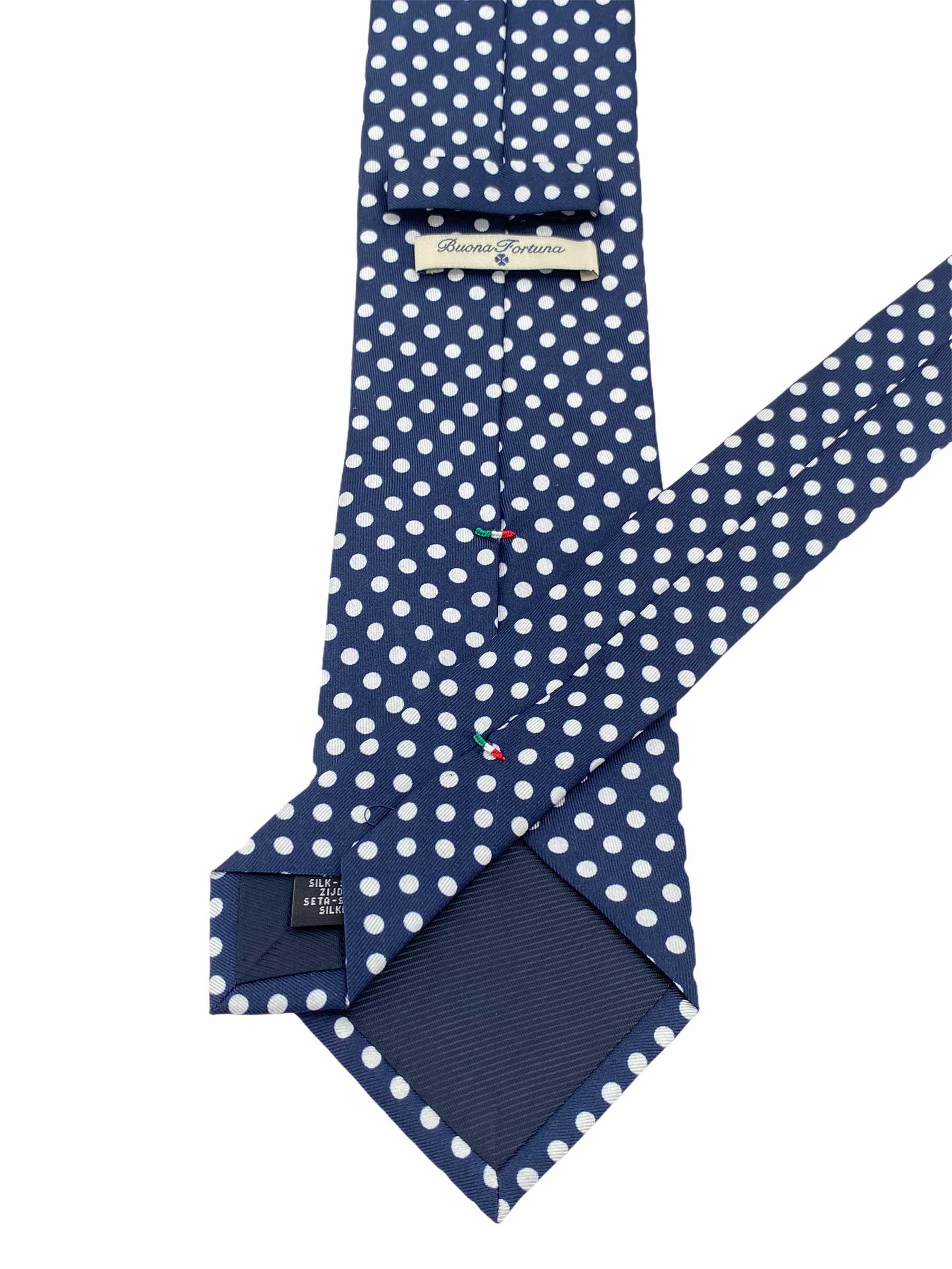 corbata tejida twill buona fortuna comprar online corbatas italianas exclusivas shop azul topos blancos