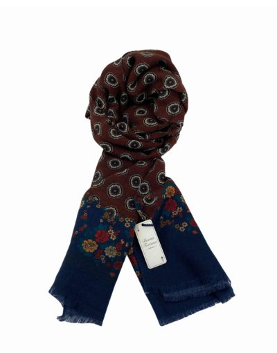 pashmina buona fortuna exclusivas comprar online moda italiana foulards shop flores naranjas verdes marron fondo