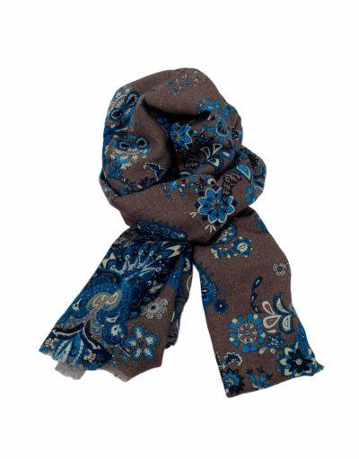 pashmina buona fortuna exclusivas comprar online moda italiana foulards shop flores turquesas fondo marron