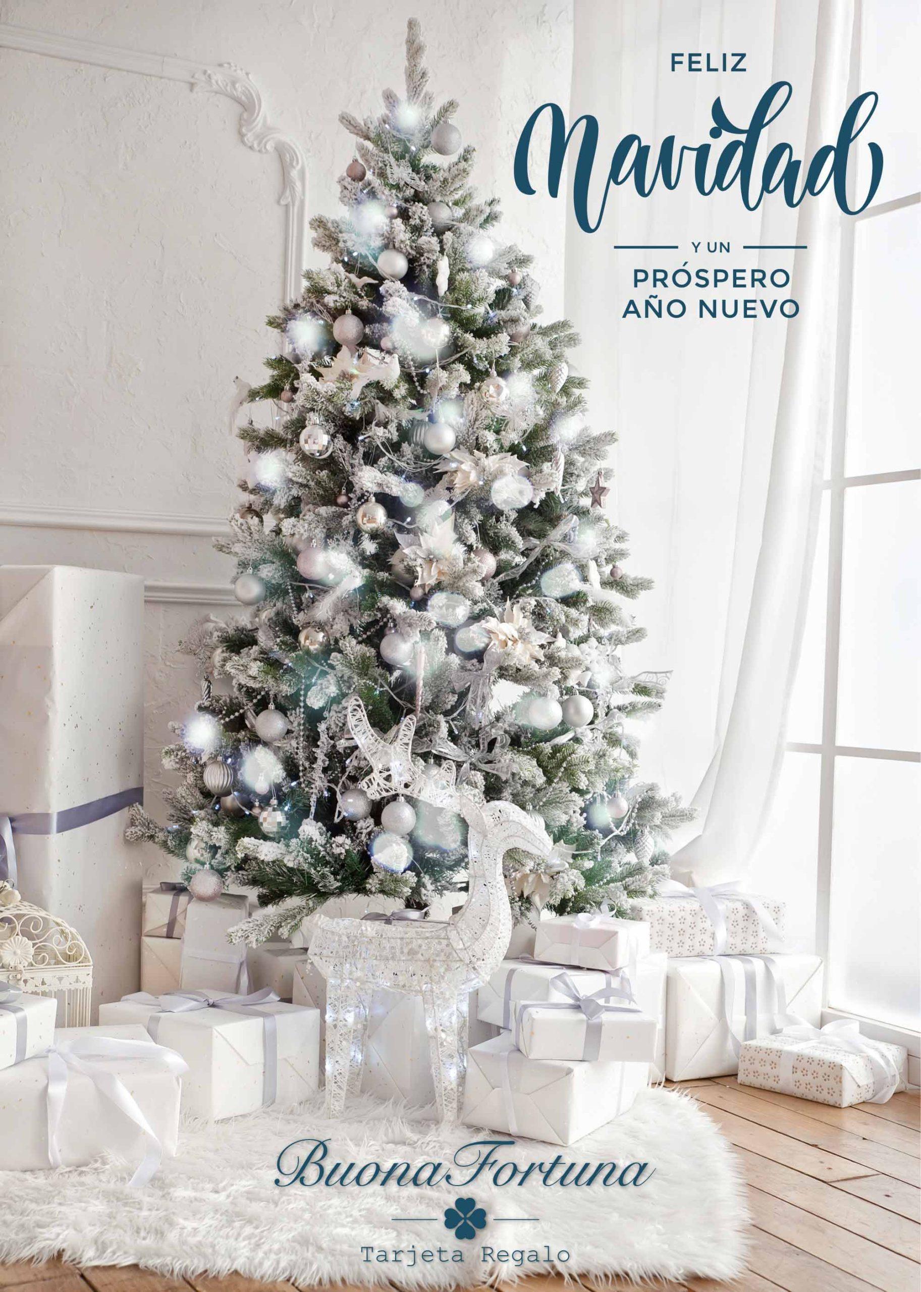 tarjeta regalo feliz navidad buona fortuna