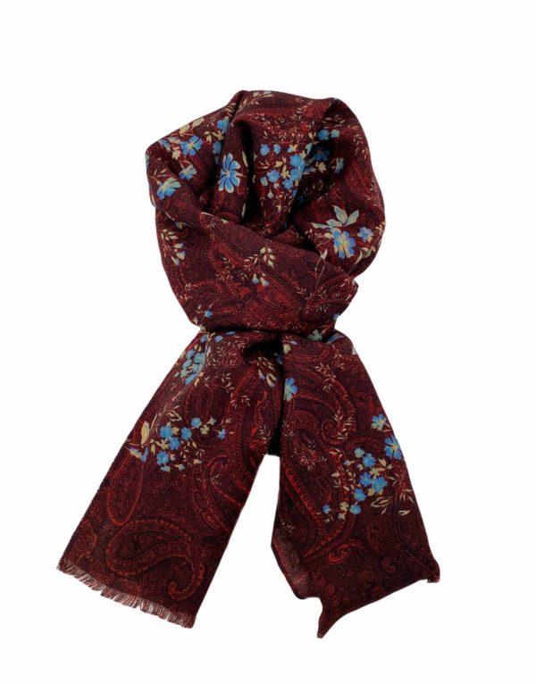 pashmina buona fortuna exclusivas comprar online moda italiana foulards shop granate y flores azules
