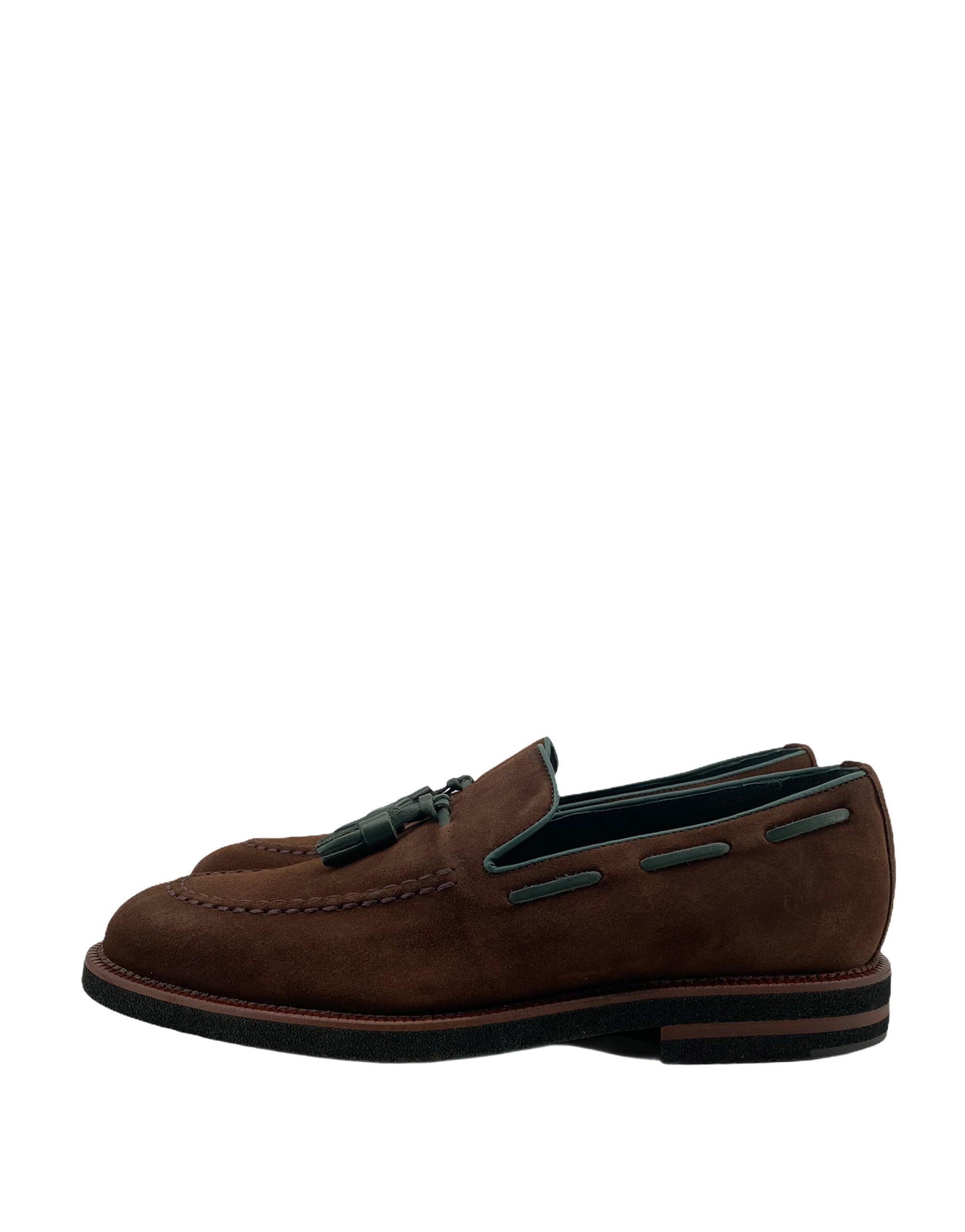 zapatos piel buona fortuna zapatos exclusivos comprar online moda italiana shop marron oscuro verde mocasin serraje