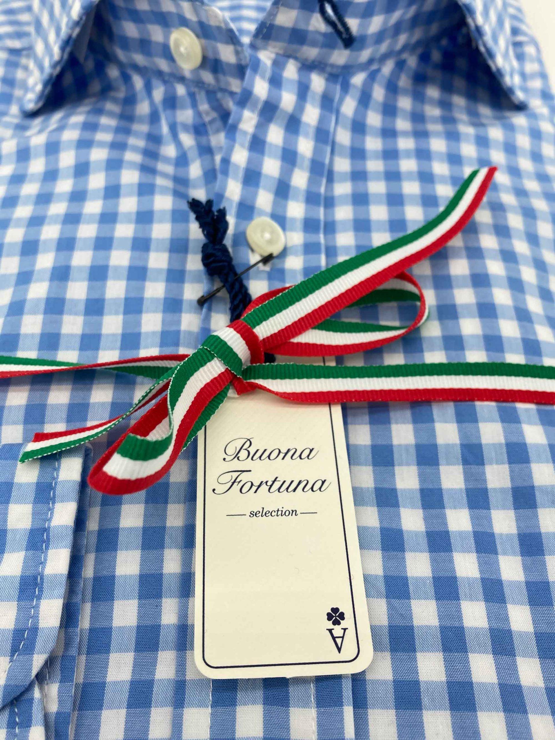 camisas buona fortuna comprar online camisas italianas exlusivas cuadros celeste y blanco