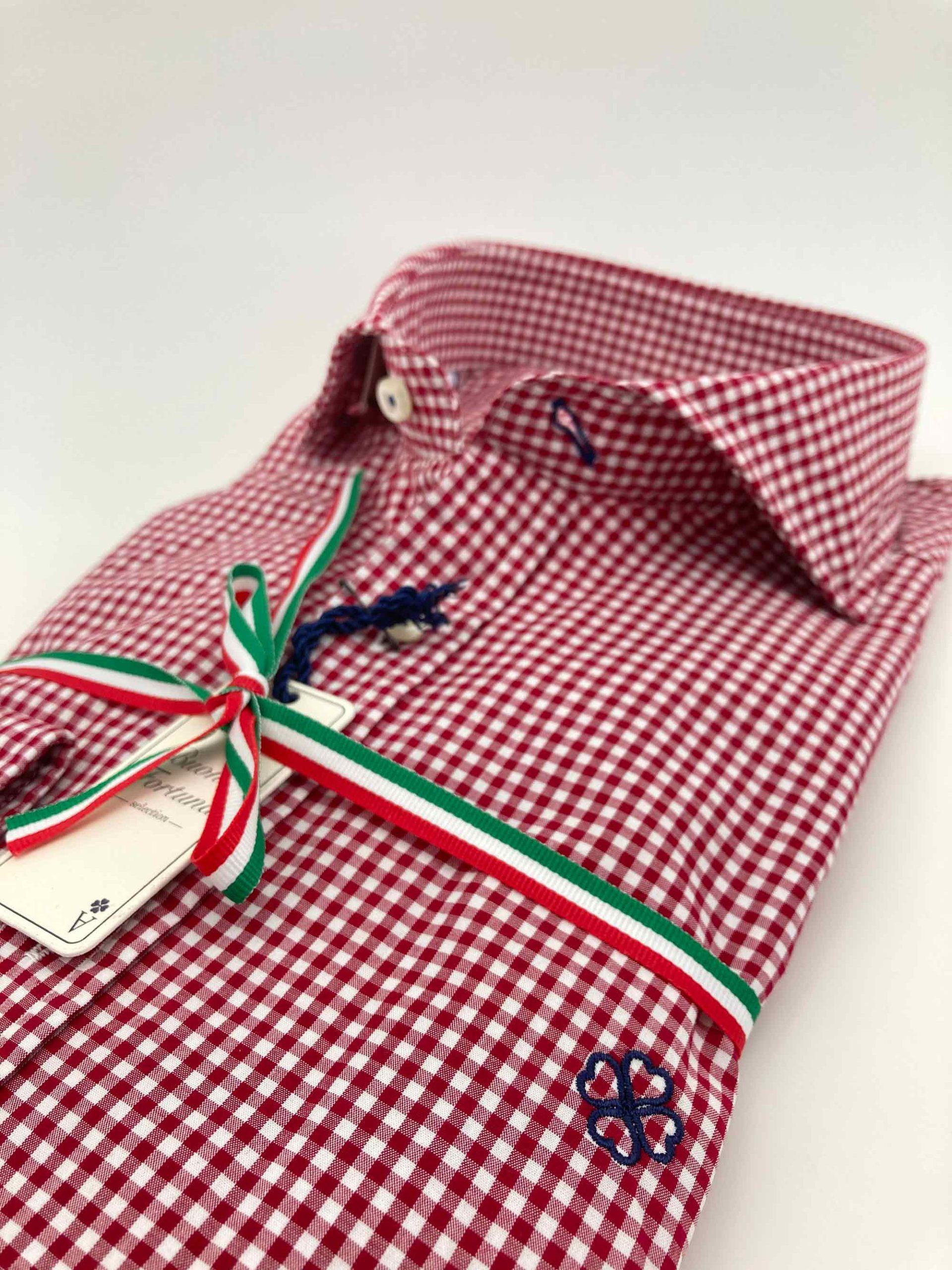 camisas buona fortuna comprar online camisas italianas exlusivas vichy rojo